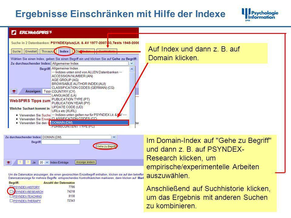 Ergebnisse Einschränken mit Hilfe der Indexe