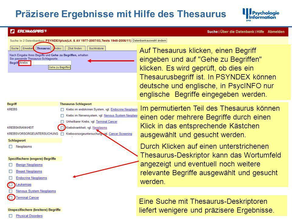 Präzisere Ergebnisse mit Hilfe des Thesaurus