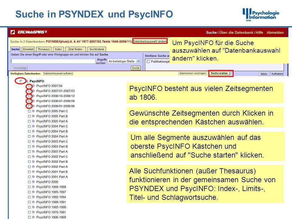 Suche in PSYNDEX und PsycINFO