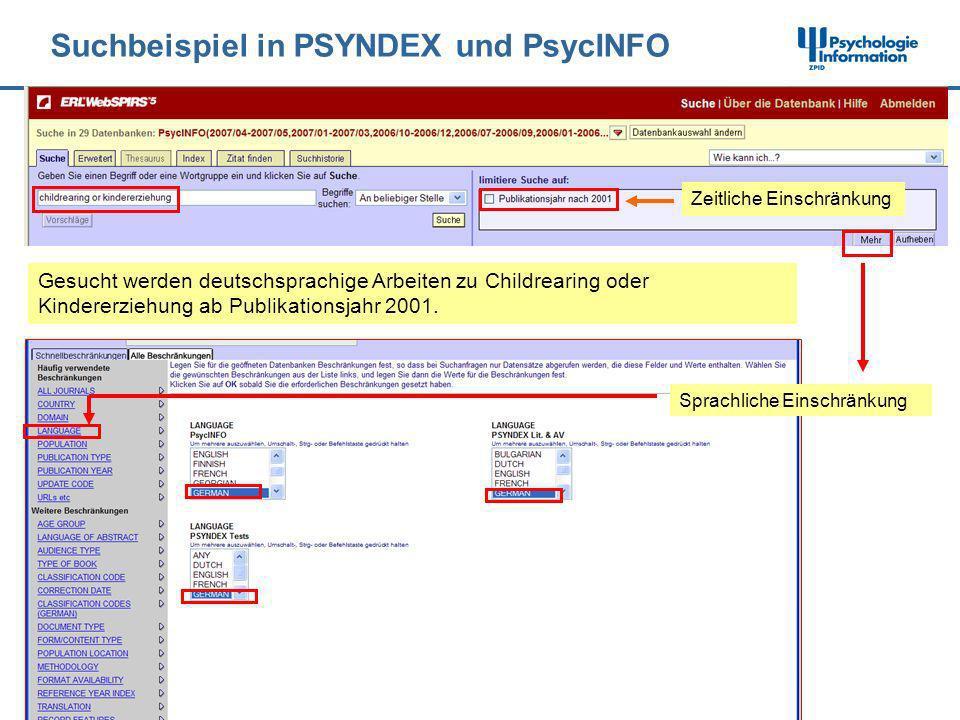 Suchbeispiel in PSYNDEX und PsycINFO
