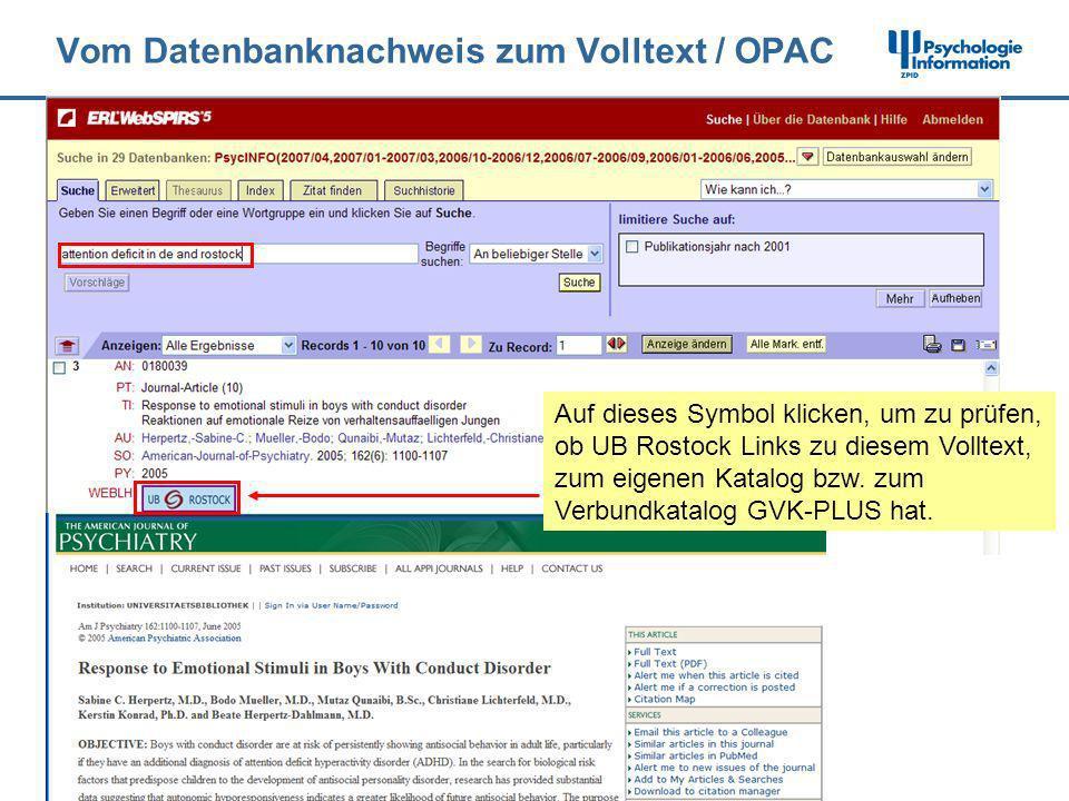 Vom Datenbanknachweis zum Volltext / OPAC