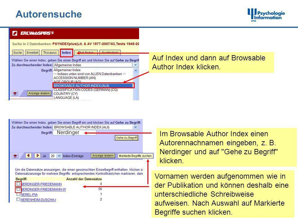 Autorensuche Auf Index und dann auf Browsable Author Index klicken.