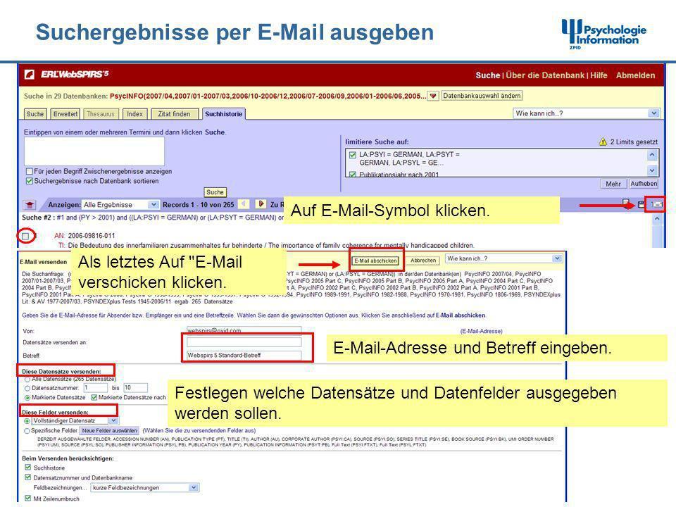 Suchergebnisse per E-Mail ausgeben