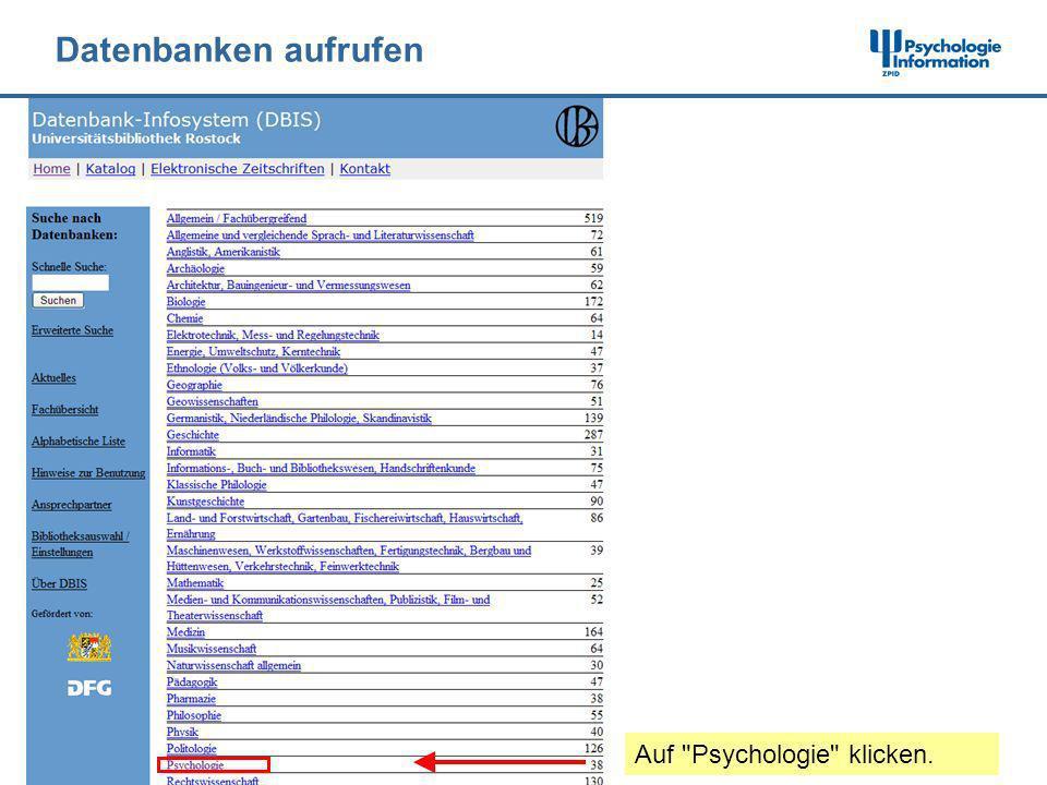Datenbanken aufrufen Auf Psychologie klicken.