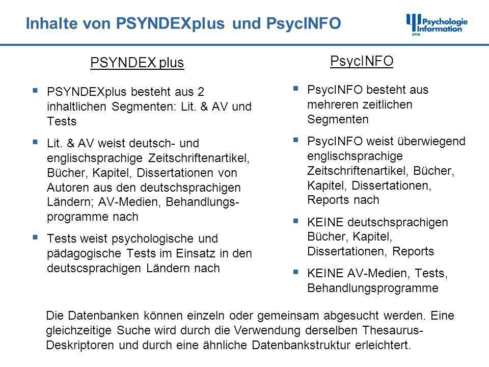 Inhalte von PSYNDEXplus und PsycINFO