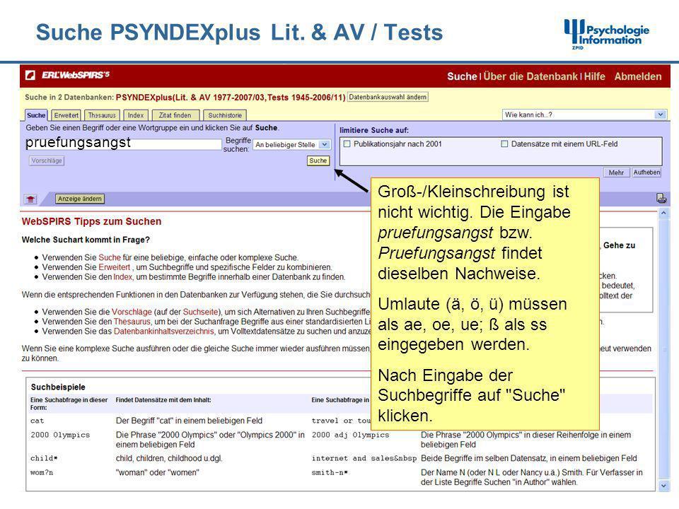Suche PSYNDEXplus Lit. & AV / Tests