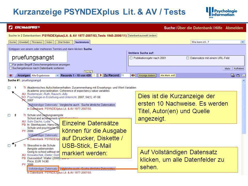 Kurzanzeige PSYNDEXplus Lit. & AV / Tests