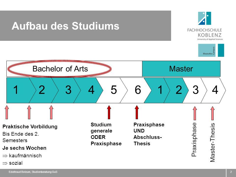 1 2 3 4 5 6 1 2 3 4 Aufbau des Studiums Bachelor of Arts Master