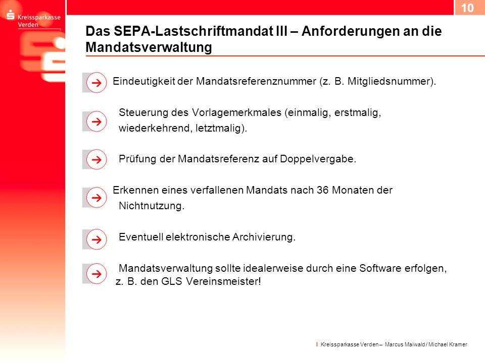 Das SEPA-Lastschriftmandat III – Anforderungen an die Mandatsverwaltung