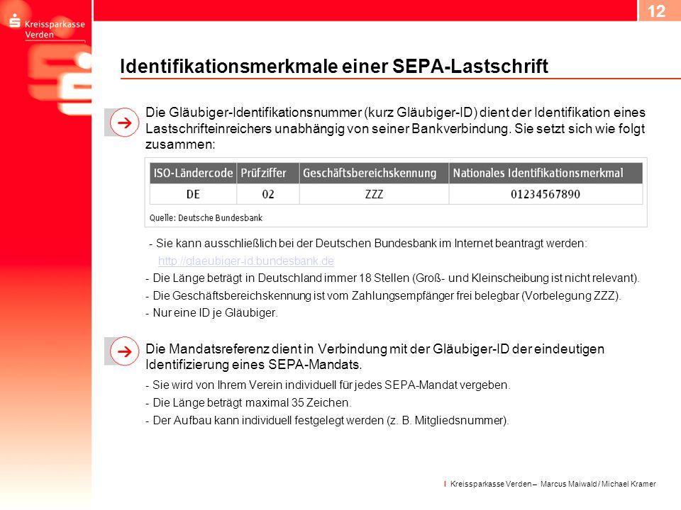Identifikationsmerkmale einer SEPA-Lastschrift