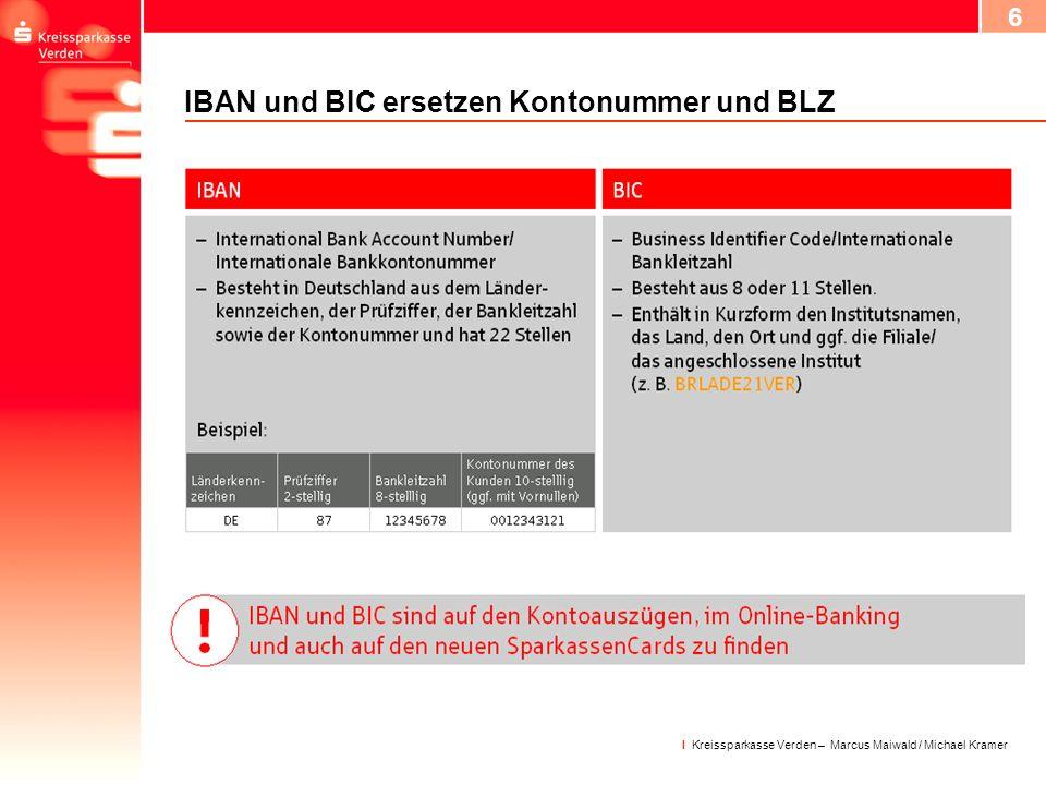 IBAN und BIC ersetzen Kontonummer und BLZ