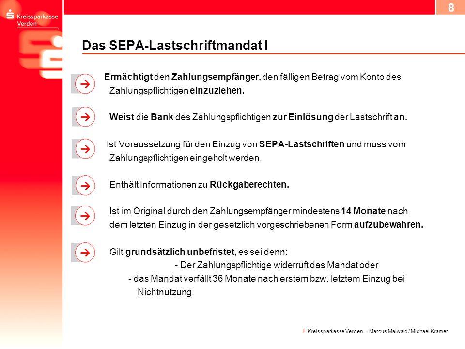 Das SEPA-Lastschriftmandat I