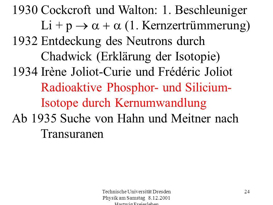 1932 Entdeckung des Neutrons durch Chadwick (Erklärung der Isotopie)