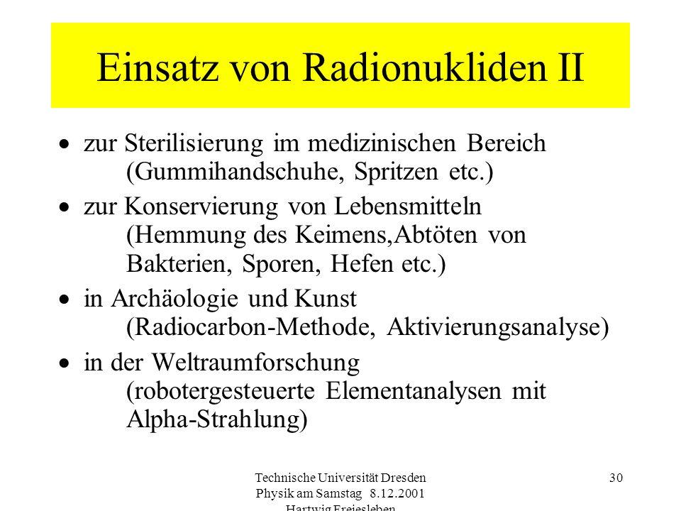 Einsatz von Radionukliden II