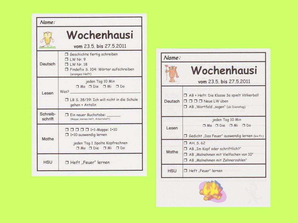Beispiel für Wochenplan und Wochenhause einfügen