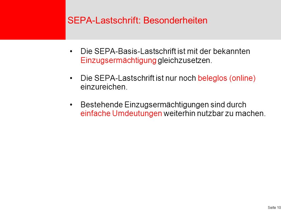 SEPA-Lastschrift: Besonderheiten