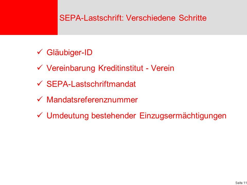 SEPA-Lastschrift: Verschiedene Schritte