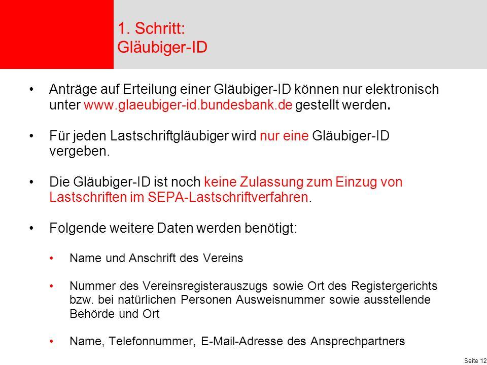 1. Schritt: Gläubiger-ID