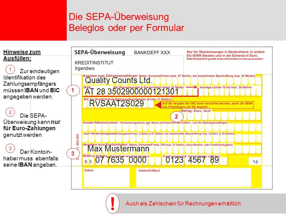 Die SEPA-Überweisung Beleglos oder per Formular