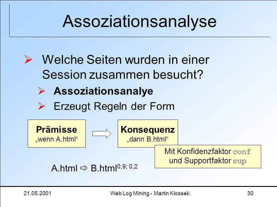 Assoziationsanalyse Welche Seiten wurden in einer Session zusammen besucht Assoziationsanalye. Erzeugt Regeln der Form.