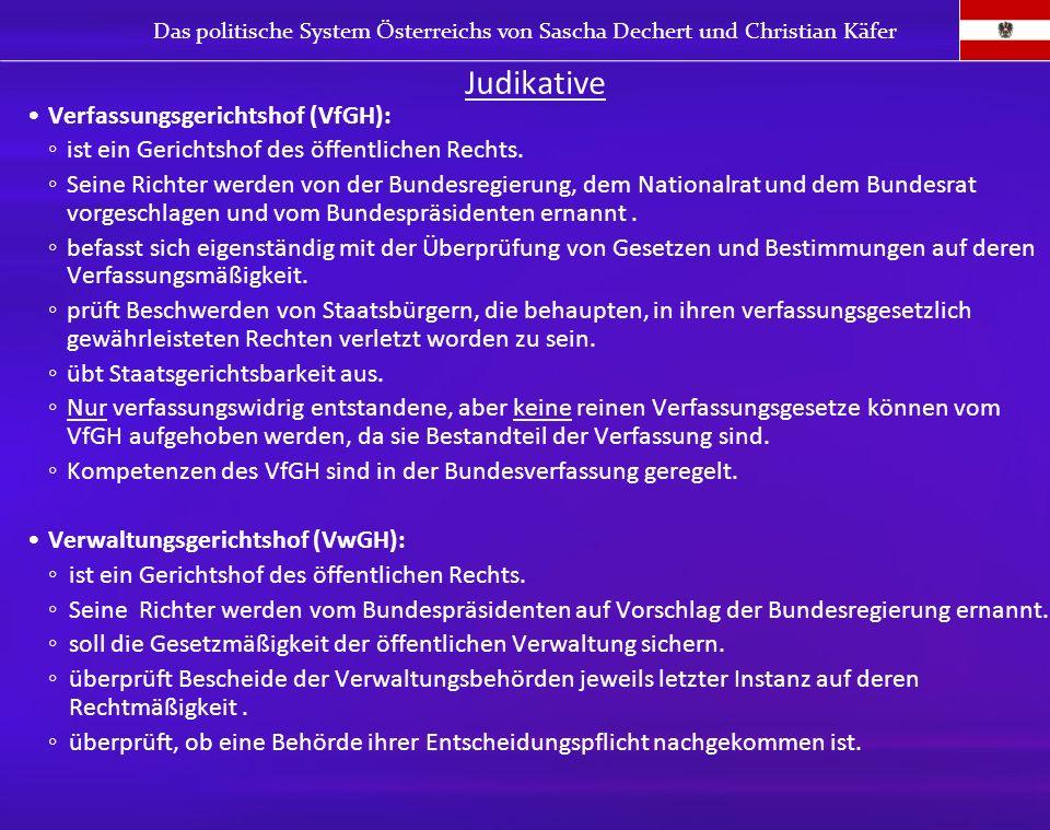 Judikative Verfassungsgerichtshof (VfGH):
