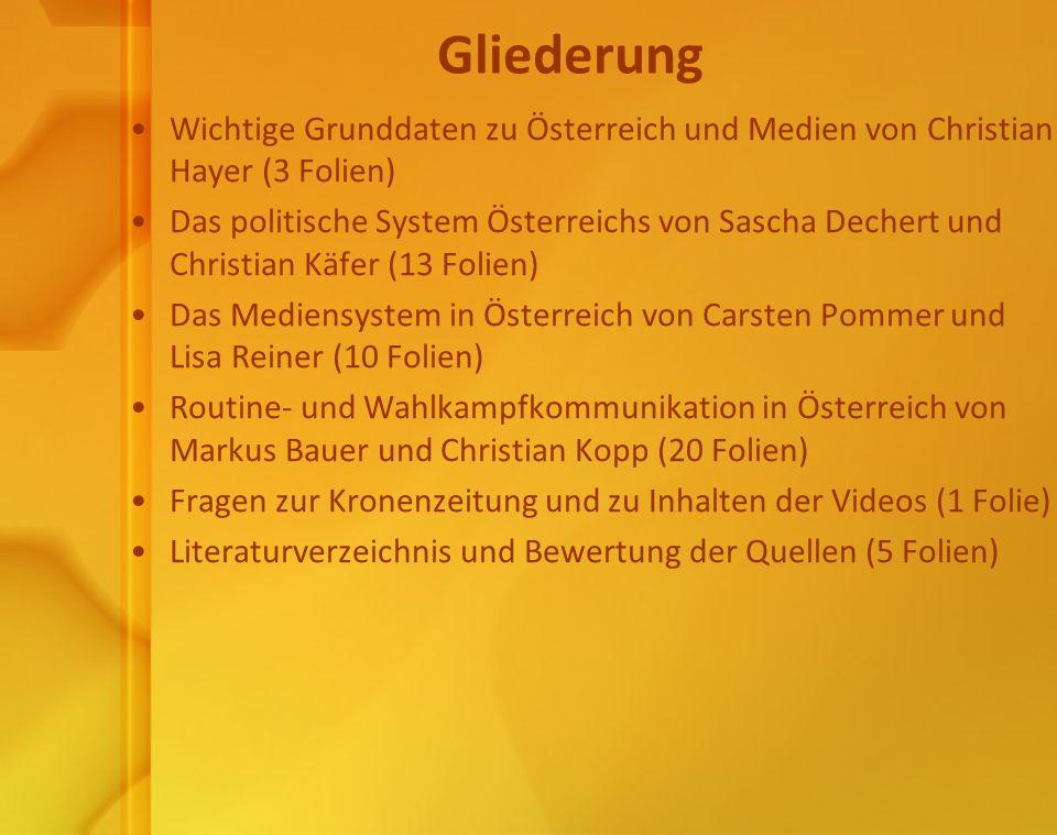 Gliederung Wichtige Grunddaten zu Österreich und Medien von Christian Hayer (3 Folien)