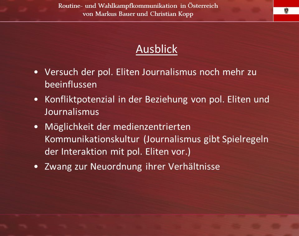 Routine- und Wahlkampfkommunikation in Österreich