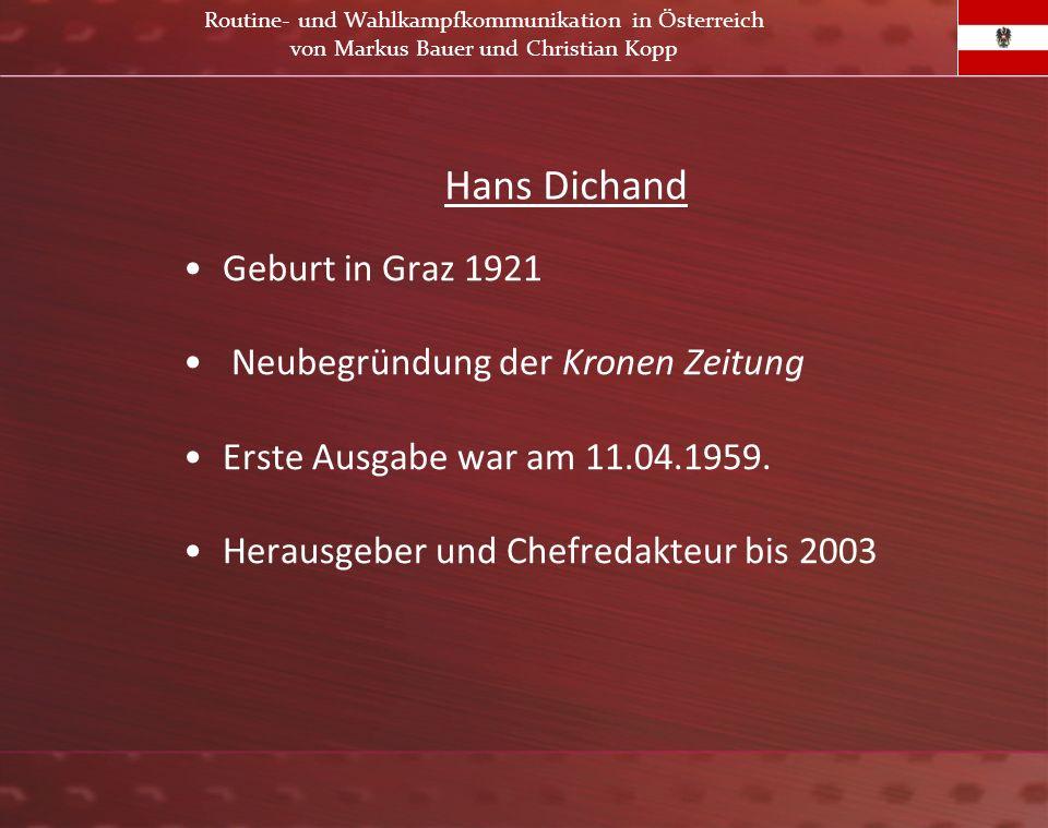 Hans Dichand Geburt in Graz 1921 Neubegründung der Kronen Zeitung