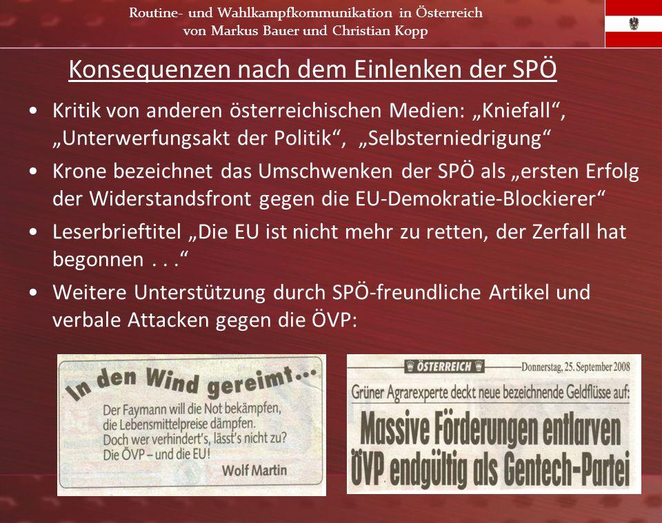 Konsequenzen nach dem Einlenken der SPÖ
