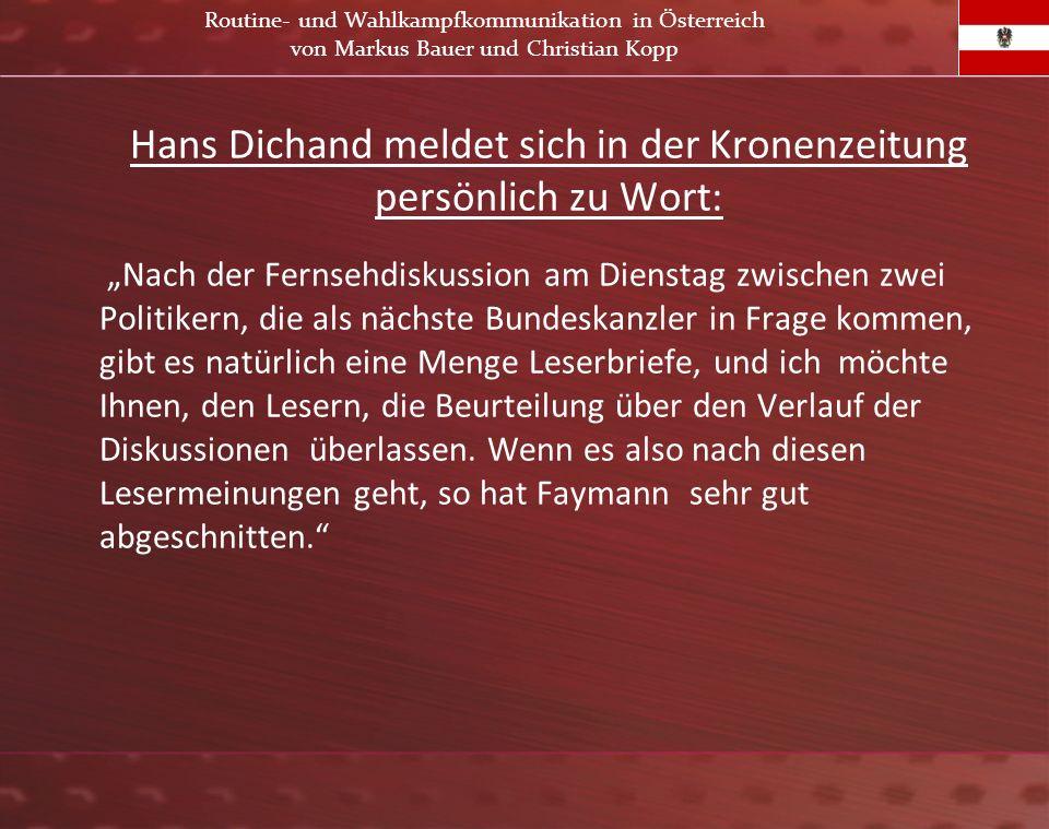 Hans Dichand meldet sich in der Kronenzeitung persönlich zu Wort: