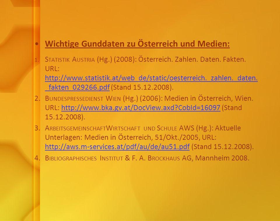 Wichtige Gunddaten zu Österreich und Medien: