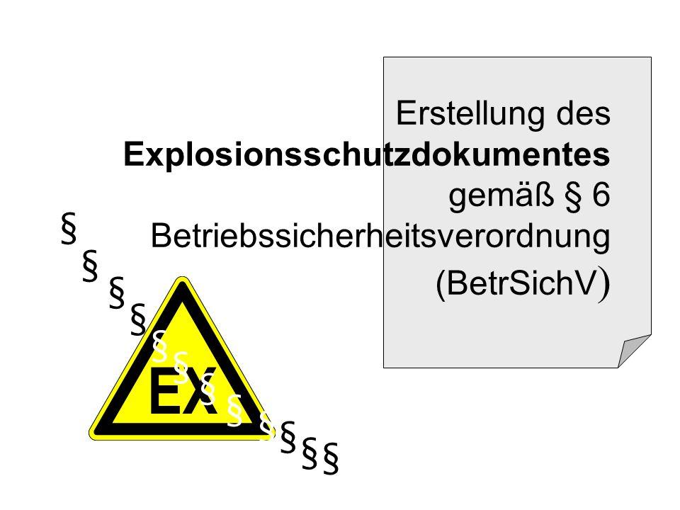 Erstellung des Explosionsschutzdokumentes gemäß § 6 Betriebssicherheitsverordnung (BetrSichV)