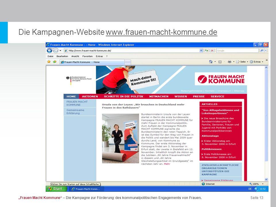 Die Kampagnen-Website www.frauen-macht-kommune.de