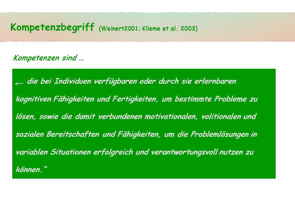 Kompetenzbegriff (Weinert2001; Klieme et al. 2003)
