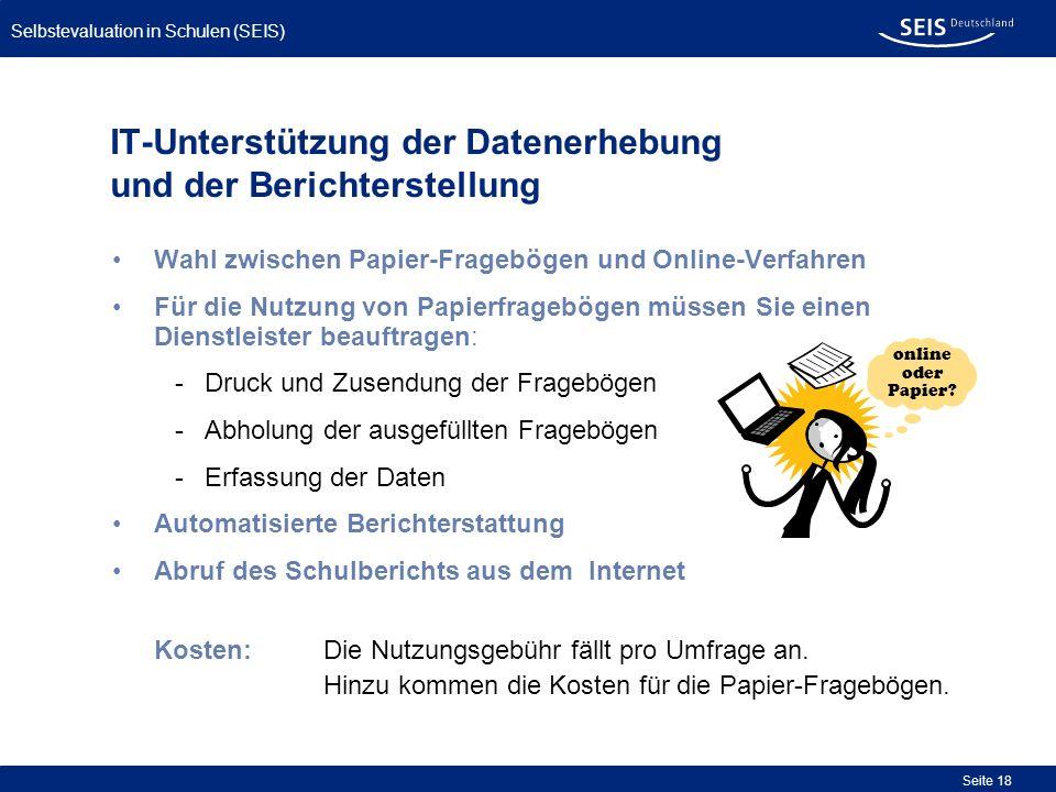 IT-Unterstützung der Datenerhebung und der Berichterstellung