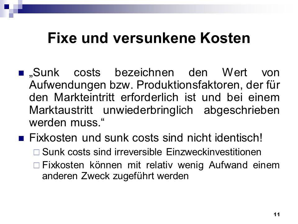 Fixe und versunkene Kosten