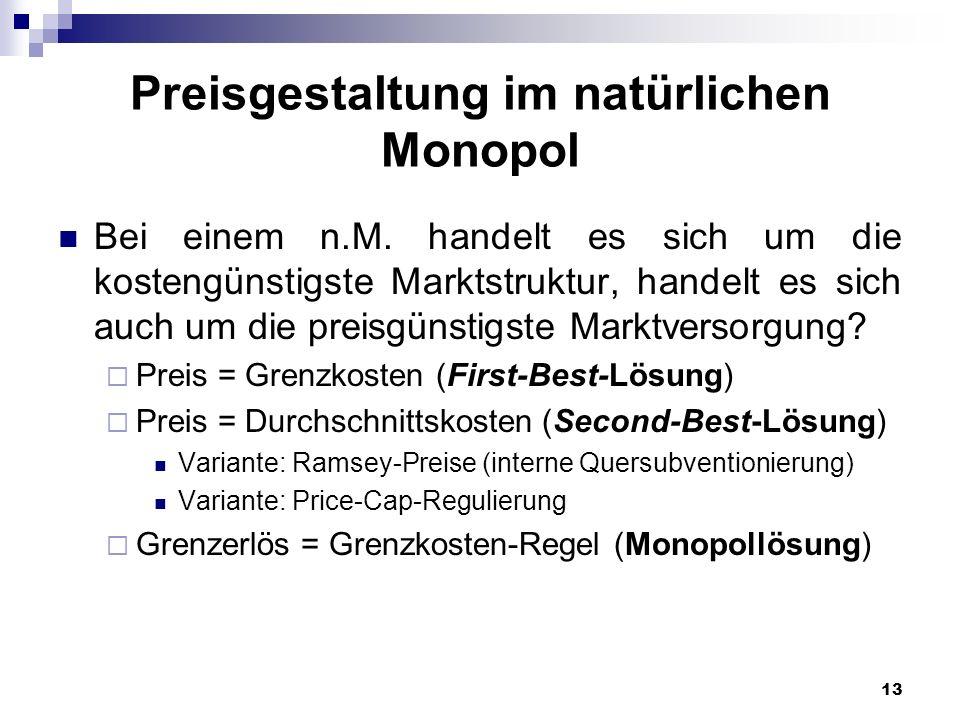 Preisgestaltung im natürlichen Monopol