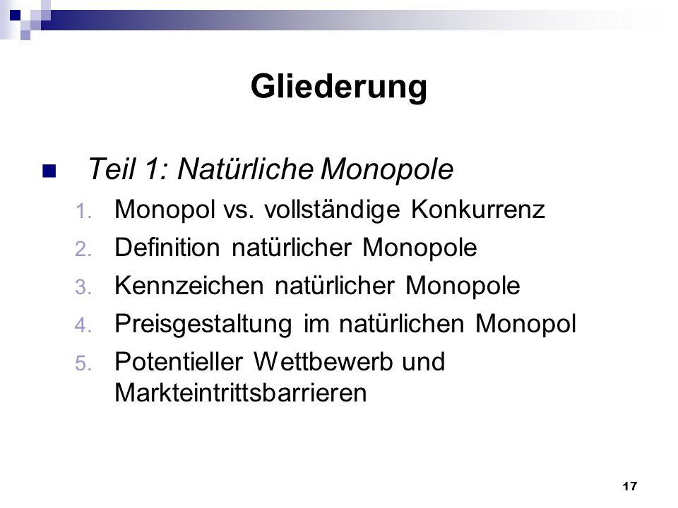 Gliederung Teil 1: Natürliche Monopole