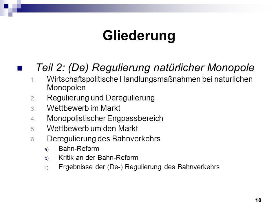 Gliederung Teil 2: (De) Regulierung natürlicher Monopole