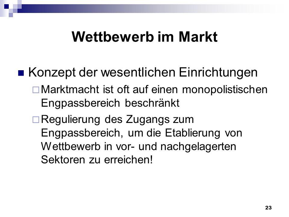 Wettbewerb im Markt Konzept der wesentlichen Einrichtungen