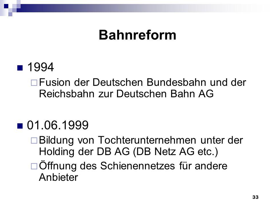 Bahnreform 1994. Fusion der Deutschen Bundesbahn und der Reichsbahn zur Deutschen Bahn AG. 01.06.1999.