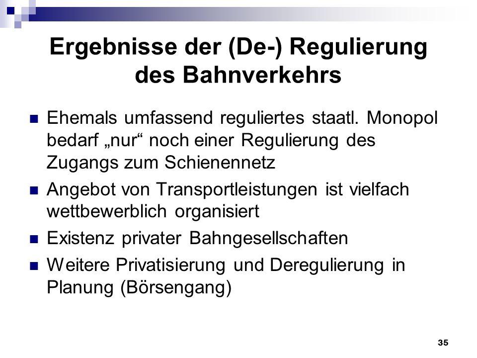 Ergebnisse der (De-) Regulierung des Bahnverkehrs