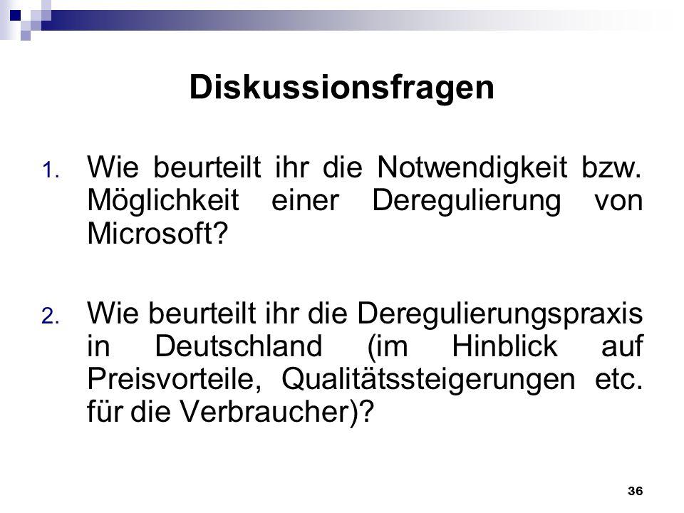 Diskussionsfragen Wie beurteilt ihr die Notwendigkeit bzw. Möglichkeit einer Deregulierung von Microsoft