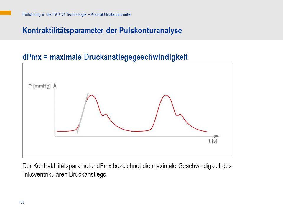 Kontraktilitätsparameter der Pulskonturanalyse