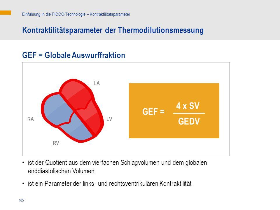 4 x SV GEF = GEDV Kontraktilitätsparameter der Thermodilutionsmessung