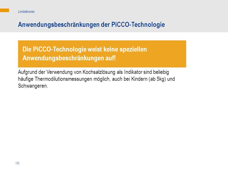 Anwendungsbeschränkungen der PiCCO-Technologie