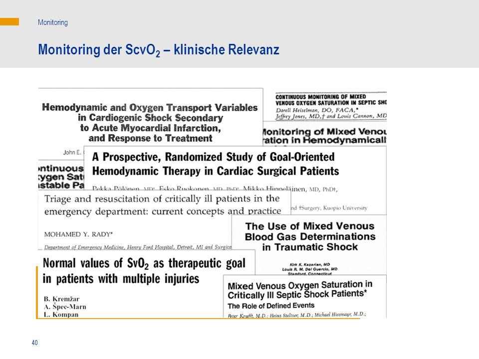 Monitoring der ScvO2 – klinische Relevanz