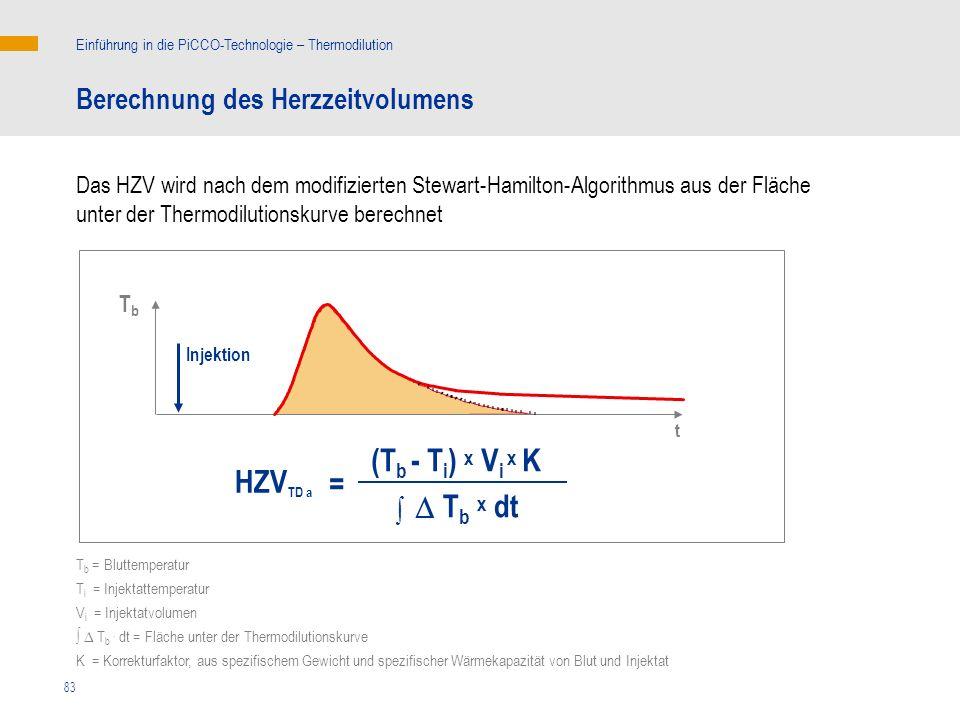 (Tb - Ti) x Vi x K HZVTD a = D Tb x dt Berechnung des Herzzeitvolumens
