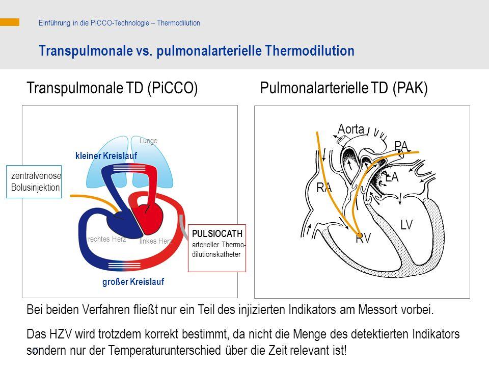 Transpulmonale TD (PiCCO) Pulmonalarterielle TD (PAK)