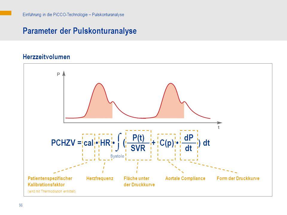 ( Parameter der Pulskonturanalyse   P(t) dP PCHZV = cal • HR •
